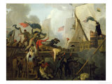 Heroism of the Crew of Le Vengeur du Peuple at the Battle of Ouessant, 1st June 1794 Giclee Print by Nicolas Antoine Taunay
