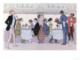 Restaurant Car in the Paris to Nice Train, 1913 Giclee Print by  Sem