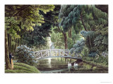 Wooden Bridge on the River Near the Statue of Diane, Views of Malmaison, Engraved Garneray Giclee Print by Auguste Garneray