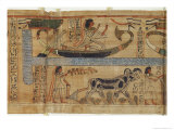 Book of the Dead, the Priest Aha-Mer Depicting a Barque and Farming Scene Giclee Print by Egyptian 21st Dynasty