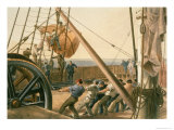 Preparing to Launch One of the Large Buoys, 1865, The Atlantic Telegraph, Russell, Published 1866 Giclee Print by Robert Dudley