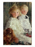 Portrait of Elizabeth and Charles Williamson with Their Pet Dog Giclee Print by Antonio Mancini