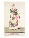 Chinese Emperor in Ceremonial Costume, from Estat Present de La Chine by Pere Bouvet, 1697 Giclee Print by Pierre Giffart