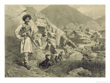 Arriving at Tsatanykh, Dagestan, Plate 12 from a Book on the Caucasus, Engraved by Jules Didier Giclee Print by Grigori Grigorevich Gagarin