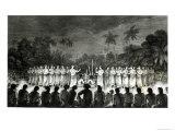 Native Inhabitants, Friendly Islands, Dancing in Hapee, Third Voyage Atlas of Captain James Cook Giclee Print by John Webber