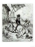 Don Quixote and the Windmills, from Don Quixote de La Mancha by Miguel Cervantes Giclee Print by Gustave Doré