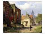 Figure Before a Redbrick Church in a Dutch Town Giclee Print by Willem Koekkoek