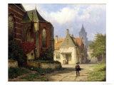 Figure Before a Redbrick Church in a Dutch Town Giclee Print by Willem Koekkoek