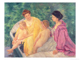 The Swim, or Two Mothers and Their Children on a Boat, 1910 Giclee Print by Mary Cassatt