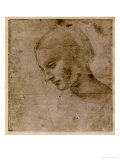 Head of a Young Woman or Head of the Virgin, c.1490 Giclee Print by  Leonardo da Vinci