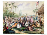 The French Protectorate's Pavilion in Tahiti in 1842, c.1842-48 Giclee Print by Maximilien Radiguet