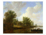 River Scene with a View of Overschie, 1651 Giclee Print by Jan Josephsz. Van Goyen