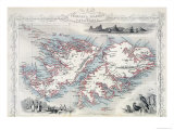 Falkland Islands and Patagonia, Series of World Maps, c.1850 Giclee Print by John Rapkin