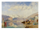 Recollections of the Lago Maggiore, Market Day at Pallanza, 1866 Giclee Print by James Baker Pyne