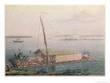 Raft, Guayaquil River, Voyages Aux Regions Equinoxiales du Nouveau Continent Giclee Print by Pierre Antoine Marchais