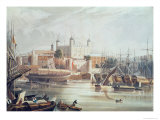 View of the Tower of London, Engraved by Daniel Havell Giclee Print by John Gendall