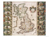 Britain as It Was Devided in the Tyme of the Englishe Saxons, 1616 Giclee Print by John Speed