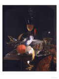 Still Life with Chinese Sugar Jar, Glass Goblet and Fruit Giclee Print by Willem Kalf