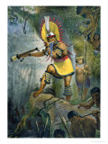 Coroado Indian Giving the Signal For Attack, Voyage Pittoresque et Historique Au Bresil Giclee Print by Jean Baptiste Debret