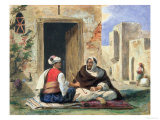 Arab Men Smoking in Front of a House Giclee Print by Eugene Delacroix