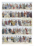Pictorial History of Clothing in Ancient Gaul and in France, Up to Early 1600S, Pub.Larousse, 1929 Giclee Print by Louis Bombled
