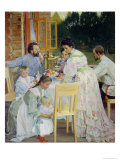 On the Terrace, 1906 Giclee Print by B. M. Kustodiev