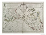 Map of the New Discoveries to the North of the South Seas, 1750 Reproduction proc&#233;d&#233; gicl&#233;e par Guillaume Delisle