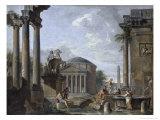 Landscape with Roman Ruins Impression giclée par Giovanni Paolo Pannini
