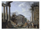 Landscape with Roman Ruins Giclee Print by Giovanni Paolo Pannini