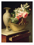 Bouquet of Lilies and Roses in a Basket, 1814 Giclee Print by Antoine Berjon
