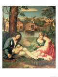 Youth with a Guitar and Two Girls Sitting on a River Bank Giclee Print by Giorgione