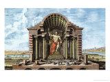 Olympian Zeus by Phidias, Plate 5, Entwurf Einer Historischen Architektur, Engraved Delsenbach Giclee Print by Johann Bernhard Fischer Von Erlach