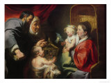 The Virgin and Child with SS Zacharias, Elizabeth and John the Baptist, c.1620 Giclee Print by Jacob Jordaens