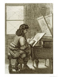 Artist Copying Onto an Engraving Plate, Printed 1737 Giclee Print by Abraham Bosse