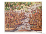 Battle Between Indian Tribes, from Brevis Narratio, Engraved by Theodore de Bry Giclee Print by Jacques Le Moyne