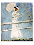 Young Woman with a Parasol on a Jetty Giclee Print by Paul César Helleu