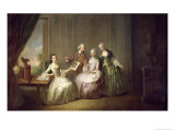 Family in an Interior with Squirrels, Possibly the Burton Family from Eltham, Kent, 1755-60 Giclee Print by Philippe Mercier