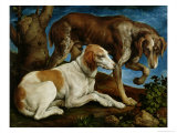 Two Hunting Dogs Tied to a Tree Stump, c.1548-50 Giclee Print by Jacopo Bassano