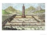 Porcelain Tower of Nanking, Plate 12, Entwurf Einer Historischen Architektur, Engraved Delsenbach Giclee Print by Johann Bernhard Fischer Von Erlach