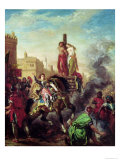 Olinda and Sophronia on the Pyre, from Gerusalemme Liberata by Torquato Tasso Giclee Print by Eugene Delacroix
