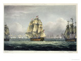 HMS Victory Sailing For French Line, Battle of Trafalgar, 1805, Engraved, T. Sutherland, Pub.1820 Stampa giclée di Thomas Whitcombe