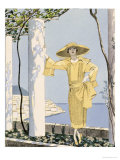 Amalfi, Illustration of a Woman in a Yellow Dress by Worth, 1922 Giclee Print by Georges Barbier