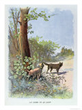 The Dog and the Wolf, from Fables Choisies de La Fontaine by Jean de La Fontaine Giclee Print by Georges Fraipont