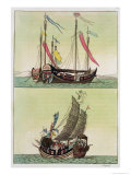 Two Kinds of Chinese Junk, Le Costume Ancien et Moderne, c.1820-30 Giclee Print by Giovanni Bigatti