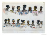 Black Slaves from Different Nations, Voyage Pittoresque et Historique Au Bresil, c.1839 Giclee Print by Jean Baptiste Debret