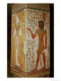 Pillar Depicting Osiris and Priest Wearing Panther Skin, from the Tomb of Nefertari, New Kingdom Giclee Print by Egyptian 19th Dynasty