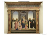 Virgin and Child Enthroned, Angels, St. Thomas, St. Barnabas, St. Dominic and St. Peter Martyr Giclee Print by  Fra Angelico