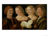 Four People Laughing at the Sight of a Cat Giclee Print by Niccolo Frangipane