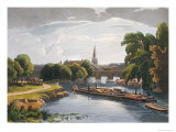 Abingdon Bridge and Church, Engraved by Robert Havell the Younger Giclee Print by William Havell