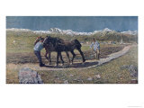 Peasants Ploughing a Field in the North of Italy, the Magazine Allemand Jugend. 1879 Giclee Print by Giovanni Segantini
